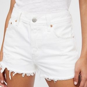 Levi's 501 White Jean Cutoff Shorts